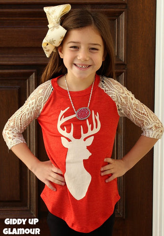 Kids Oh, Deer Glitter Antler Red Baseball Tee with Gold Glitter Crochet Sleeves