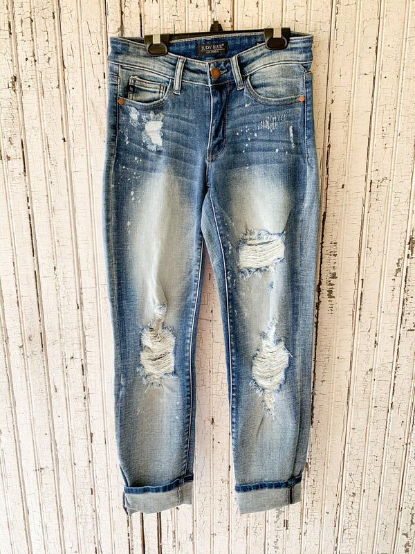 Judy Blue | Can't Help Myself Destroyed Bleach Splatter Boyfriend Jeans in Light Wash