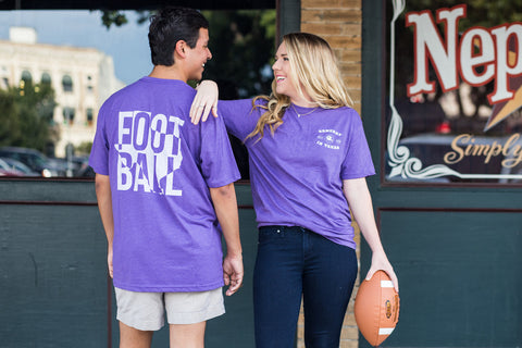 Football in Texas Short Sleeve Tee Shirt in Purple