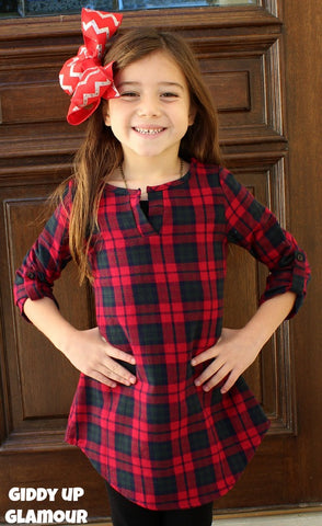Kids Fall in Line Plaid Flannel Tunic in Red, Green and Navy