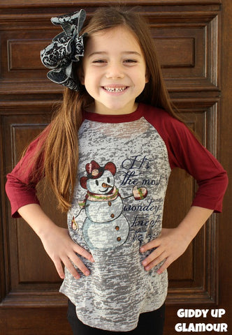 Kids It's The Most Wonderful Time Of The Year Snowman Grey Baseball Tee with Maroon Sleeves
