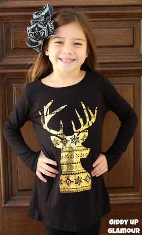Kids Run, Run Rudolph Piko Top with Gold Foiled Christmas Patterned Deer in Black