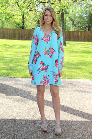 Mesmerized by Spring Floral Shift Dress in Turquoise