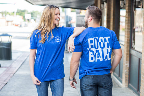 Football in Texas Short Sleeve Tee Shirt in Royal Blue