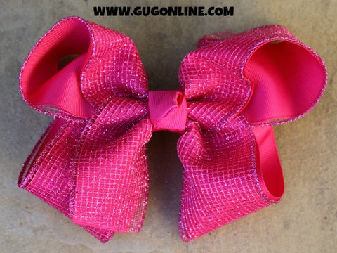 Hot Pink Sparkle Hair Bow