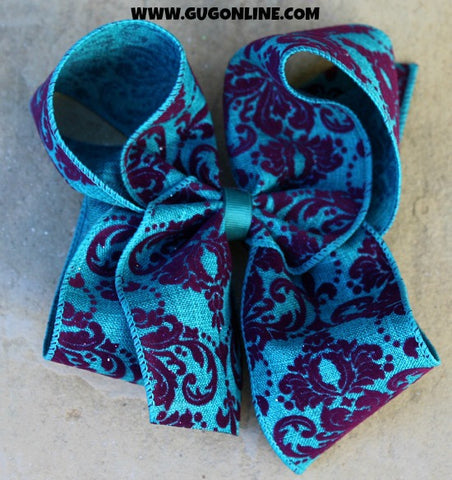Turquoise and Purple Velvet Damask Hair Bow
