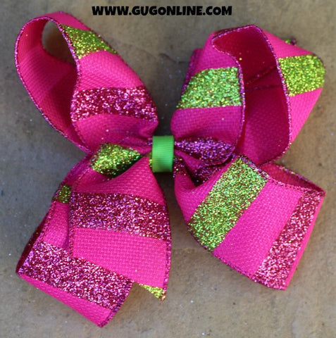 Hot Pink and Lime Green Glitter Stripe Hairbow