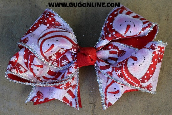 Red and White Snowman Bow with Glitter