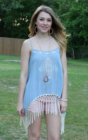 Keep It Edgy Sheer Tunic with Embroidery & Fringe in Light Blue