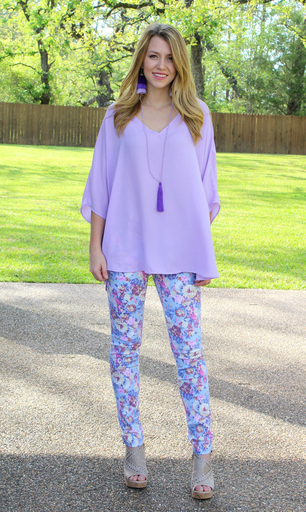 WEEKEND SPECIAL | In Full Bloom Floral Printed Pants in Lavender