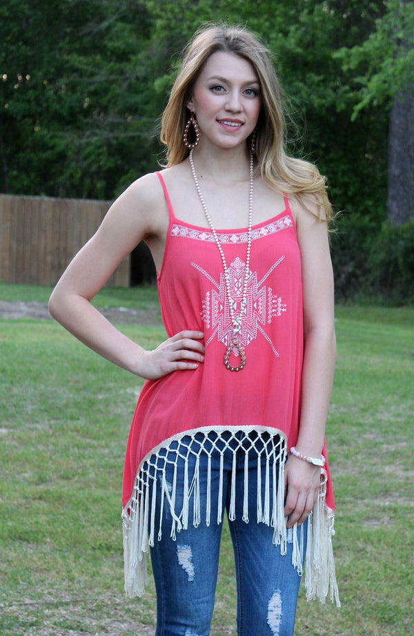Keep It Edgy Sheer Tunic with Embroidery & Fringe in Coral