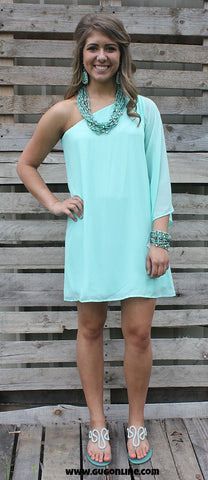 One Shoulder Wonder Dress in Mint