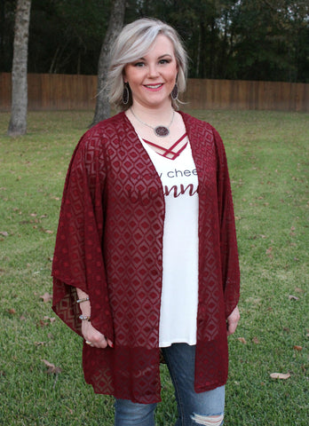 Express Your Love Kimono in Maroon