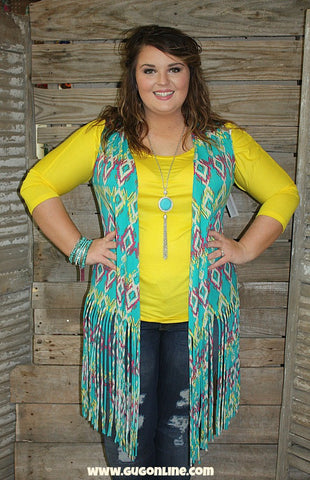 Good Vibrations Aztec Vest with Fringe in Turquoise, Yellow and Hot Pink