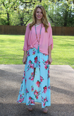One in a Million Maxi Skort in Turquoise Floral