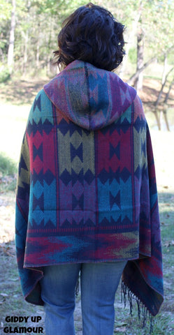 By The Fireside Southwest Poncho in Navy