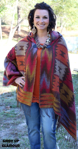 By The Fireside Southwest Poncho in Brown
