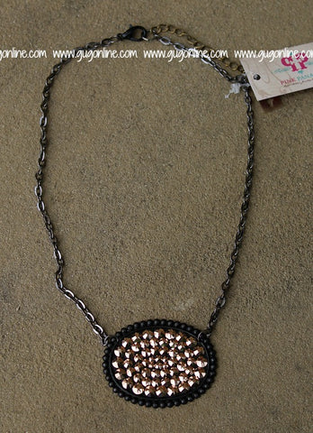 Pink Panache Black Matte Oval Necklace with Solid Rose Gold Crystals