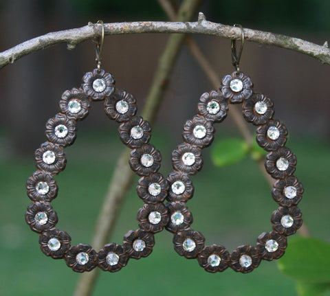 Pink Panache Rust Brown Teardrop Earrings with Clear Crystals