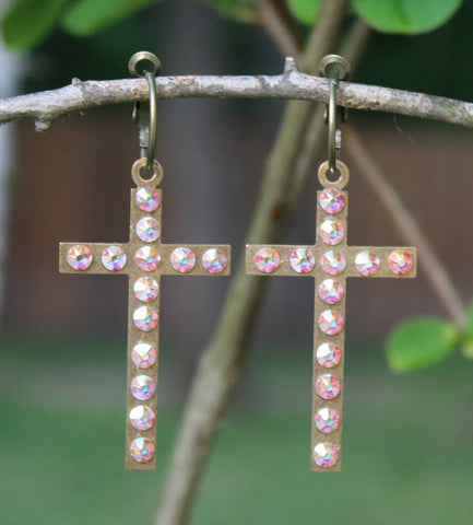 Pink Panache Bronze Cross Earrings with AB Crystals