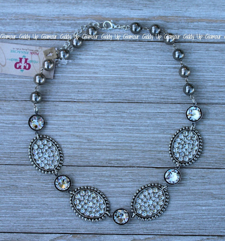 Pink Panache Short Silver Clear Oval and Crystal Necklace