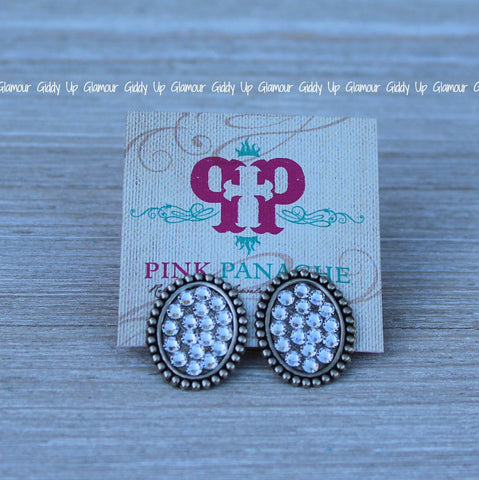 Pink Panache Mini Silver Oval Stud Earrings with Clear Crystals