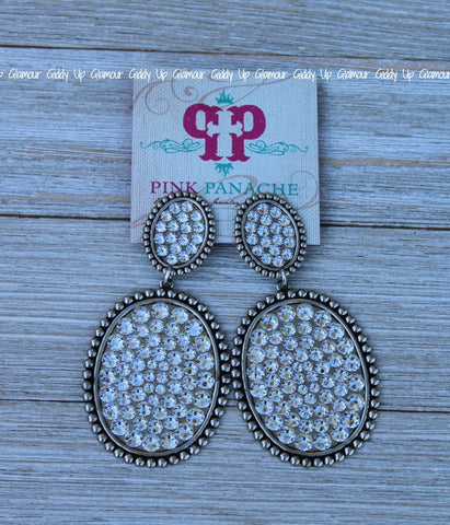 Pink Panache Large Silver Double Oval Earrings with Clear Crystals
