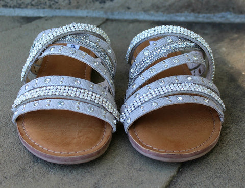 Caviar Rhinestone Sandals in Silver