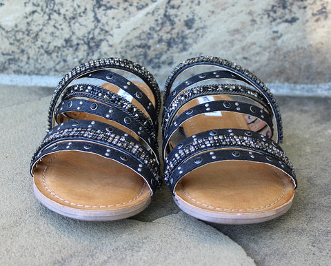 Caviar Rhinestone Sandals in Black