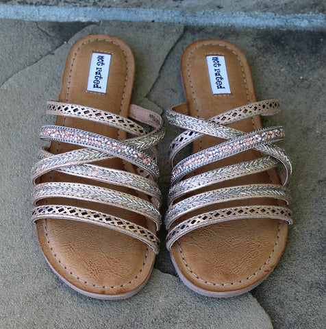 B Me Rhinestone Sandals in Rose Gold