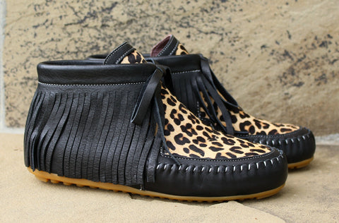 Black and Cheetah Fringe Moccasins - size 6 and 10 left!