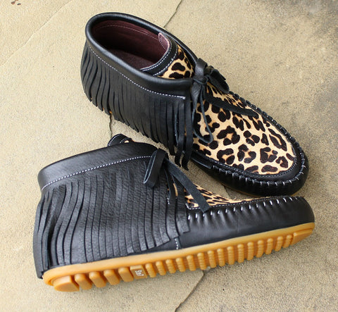 Black and Cheetah Fringe Moccasins