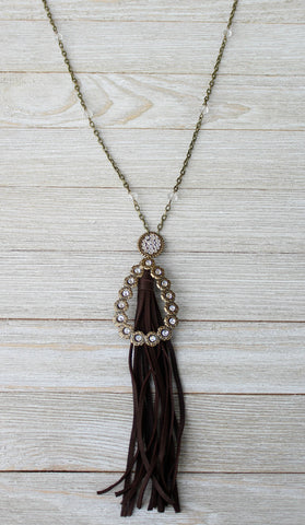 Pink Panache Long Linked Chain Tassel Necklace with Bronze Oval & Teardrop with Clear Crystals
