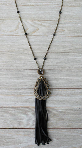 Pink Panache Long Linked Chain Tassel Necklace with Bronze Oval & Teardrop with Black Crystals