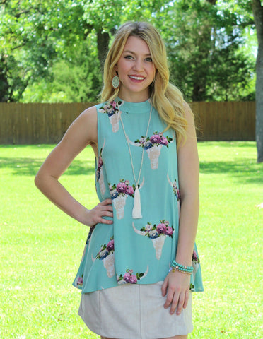 Rise To The Top Bull Head Sleeveless Top in Mint