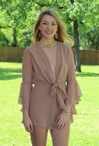 Give Me Details Front Tie Romper in Taupe