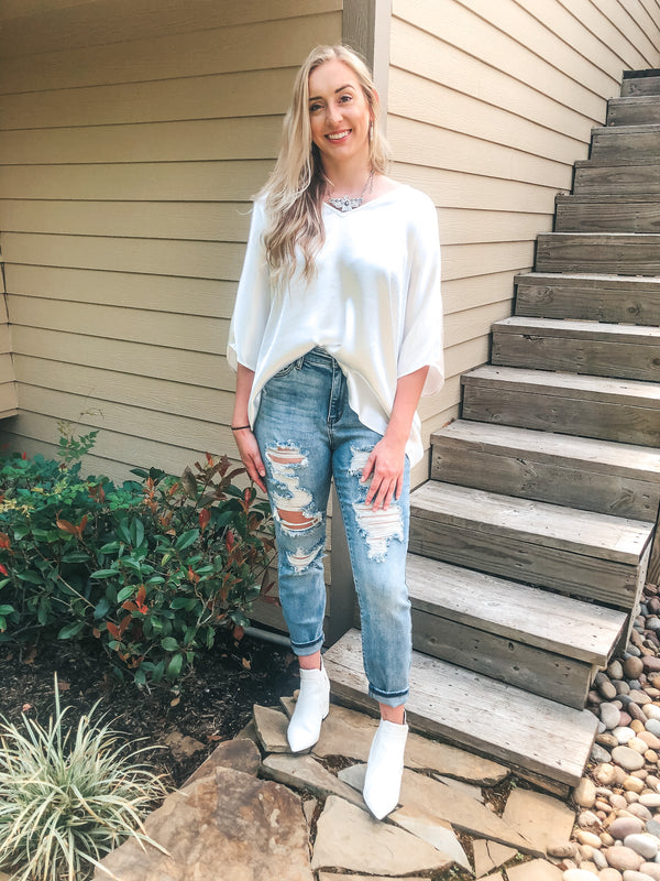 Judy Blue | In Action Destroyed Boyfriend Jeans in Light Wash