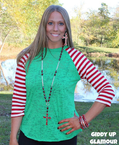 Santa's Little Helper Christmas Baseball Burnout Tee with Candy Cane Stripe Sleeves