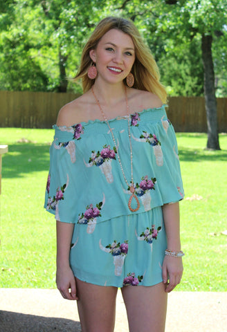 Easy Come Easy Go Bull Head Off Shoulder Romper in Mint