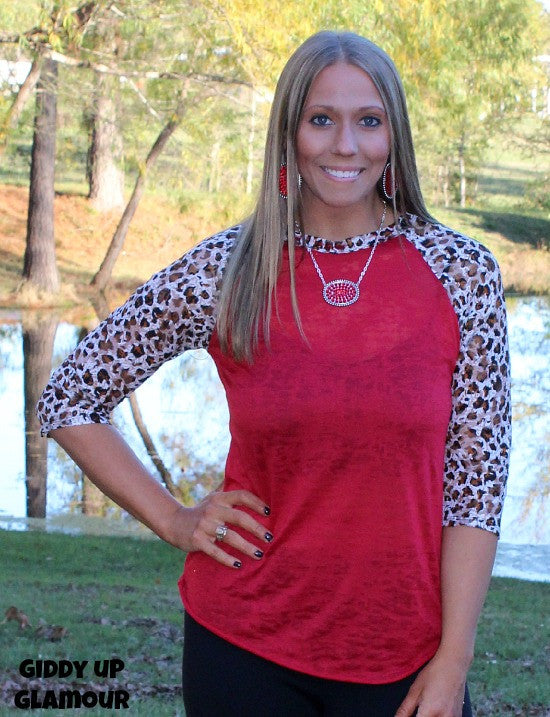 Adult Lace Get Together Red Burnout Baseball Tee with Cheetah Lace Sleeves