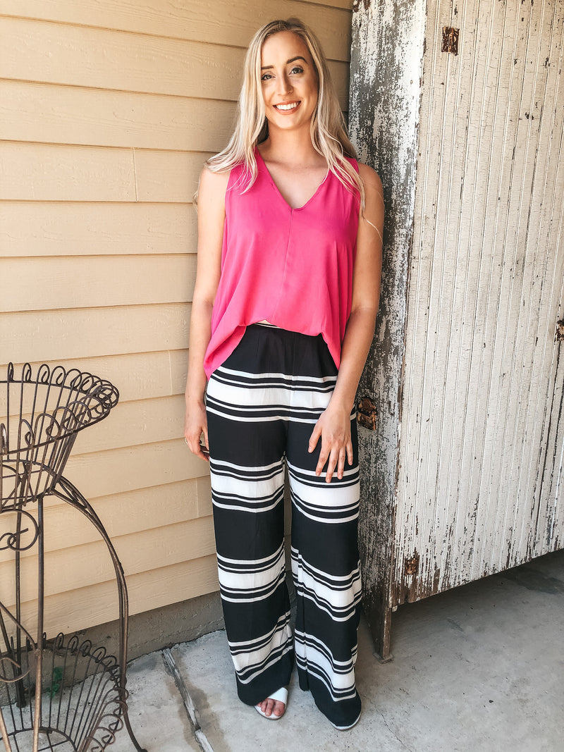 Keep Up Striped Wide Leg Pants in Black and White