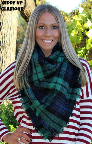 Green and Navy Blanket Scarf