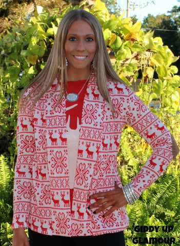 Sleigh Bells Red and White Christmas Reindeer Pattern Cardigan