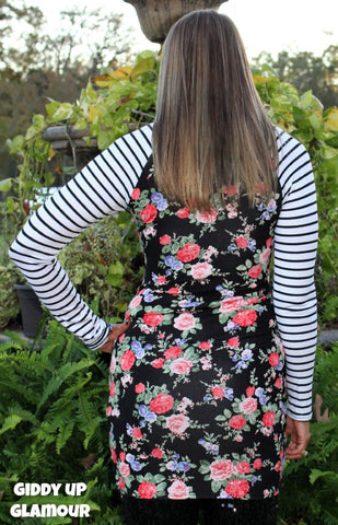 a4ebd2ecfe865b ... The Final Pick Floral Tunic with Stripe Sleeves in Black