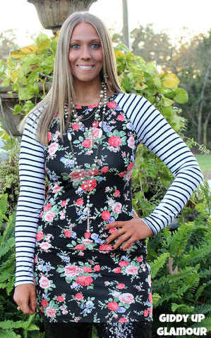 b53da2683aa0c5 The Final Pick Floral Tunic with Stripe Sleeves in Black ...