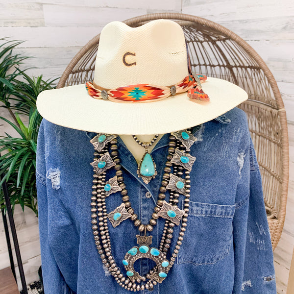 Charlie 1 Horse | Navajo Flat Brim Straw Hat with Tribal Scarf and Leather Feathers
