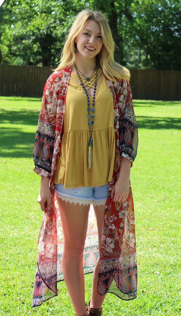 Bold Meets Beautiful Long Floral Wrap Kimono in Red & Navy