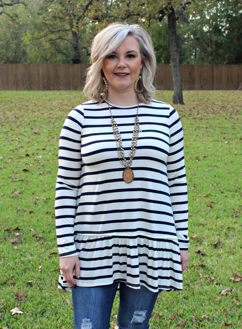 The One and Only Long Sleeve Stripe Tunic Top in Navy Blue
