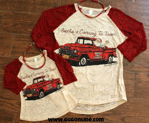 Kids Santa's Coming To Town Vintage Truck Baseball Tee with Red Crochet Sleeves