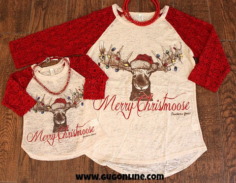 Kids Merry Christmoose Baseball Tee with Red Sleeves
